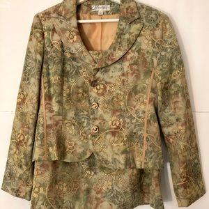 Larry Levine Floral 2-Piece Skirt Suit